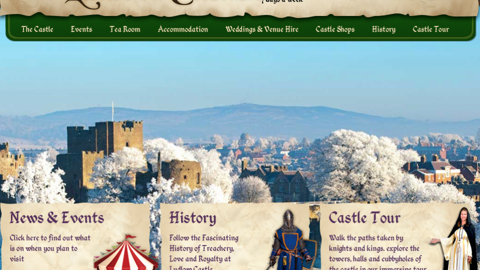 A screenshot of Ludlow castes website wher you can see lots of navigation tabs and medieval imagery.
