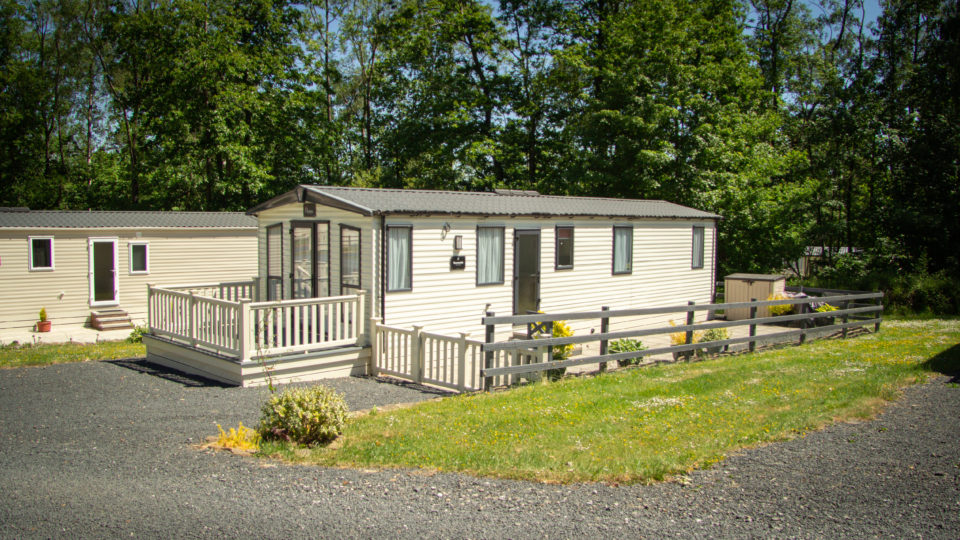 A secluded static caravan holiday home at Lodge Coppice, this ones in a coppice of tall trees with mown lawn to the side and gravel parking to the front. Tall trees surround.